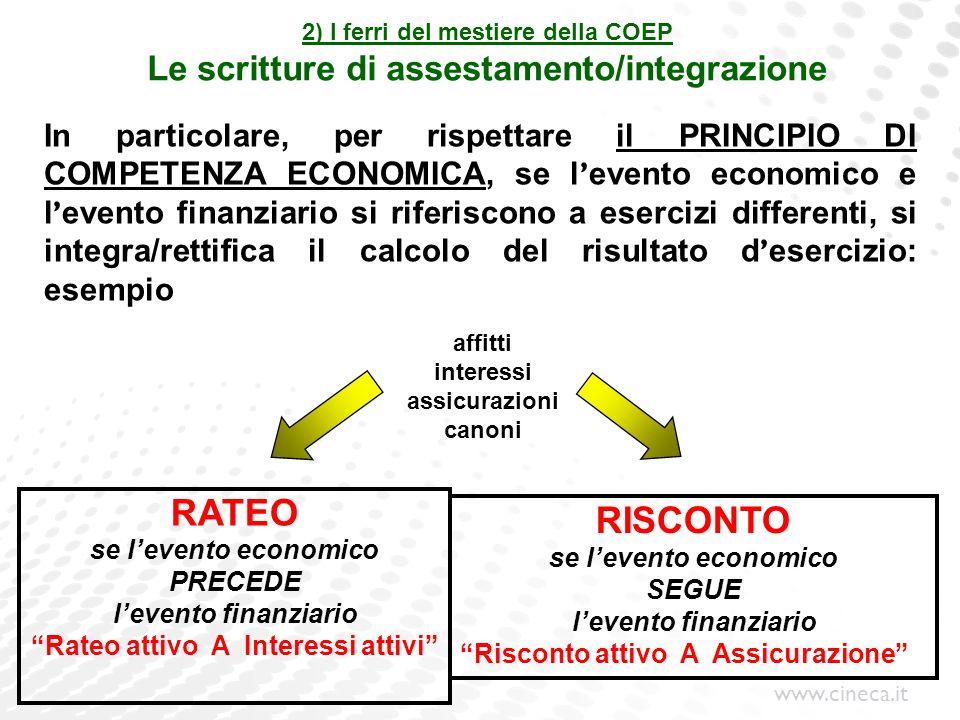 www.cineca.it 2) I ferri del mestiere della COEP Le scritture di assestamento/integrazione In particolare, per rispettare il PRINCIPIO DI COMPETENZA E