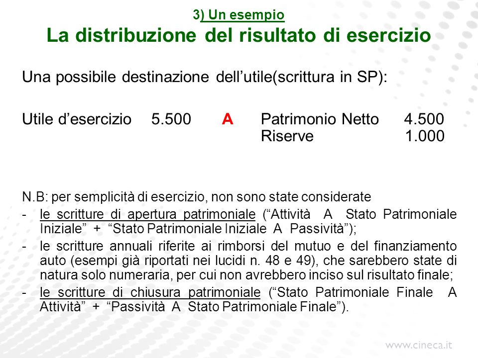 www.cineca.it 3) Un esempio La distribuzione del risultato di esercizio Una possibile destinazione dellutile(scrittura in SP): Utile desercizio 5.500