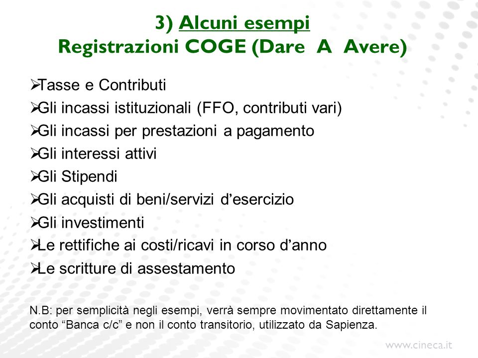 www.cineca.it 3) Alcuni esempi Registrazioni COGE (Dare A Avere) Tasse e Contributi Gli incassi istituzionali (FFO, contributi vari) Gli incassi per p