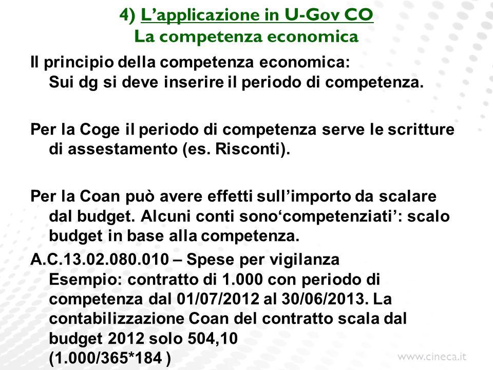 www.cineca.it 4) Lapplicazione in U-Gov CO La competenza economica Il principio della competenza economica: Sui dg si deve inserire il periodo di comp