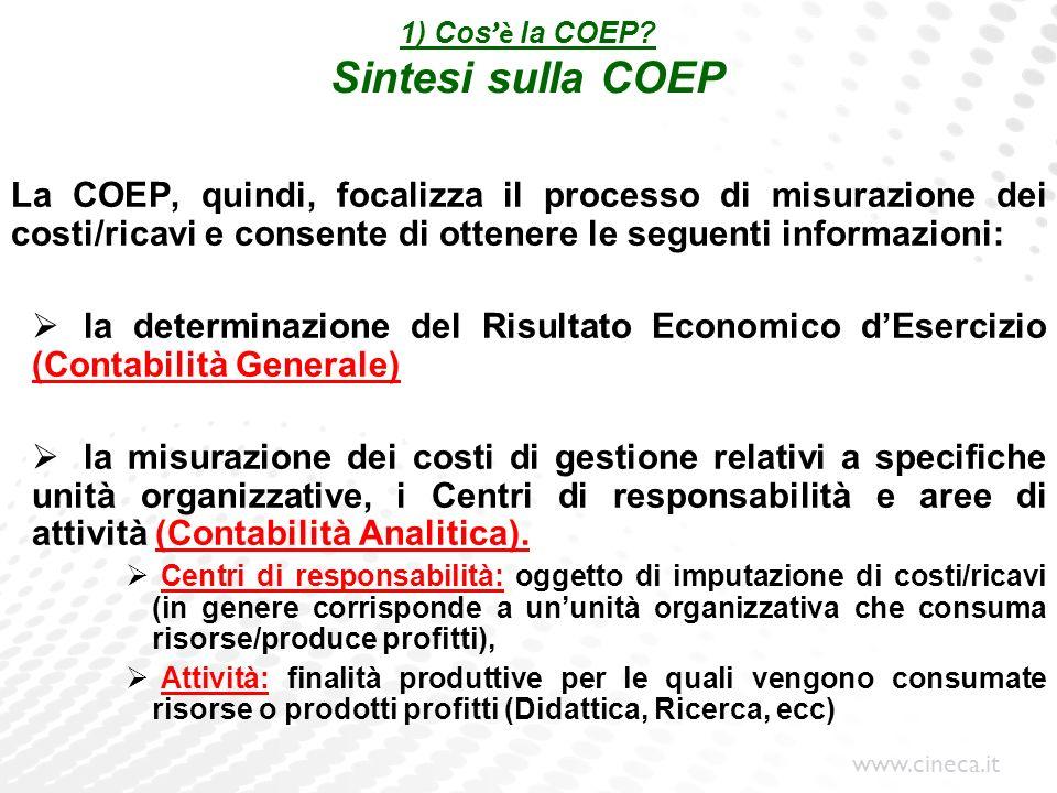 www.cineca.it 1) Cos è la COEP? Sintesi sulla COEP La COEP, quindi, focalizza il processo di misurazione dei costi/ricavi e consente di ottenere le se