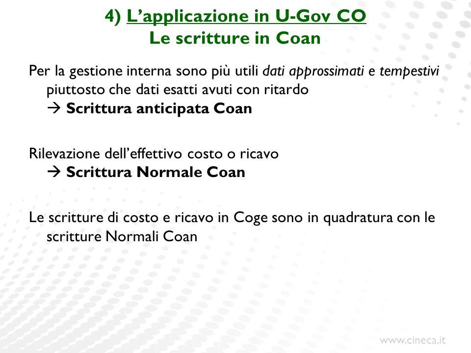 www.cineca.it 4) Lapplicazione in U-Gov CO Le scritture in Coan Per la gestione interna sono più utili dati approssimati e tempestivi piuttosto che da
