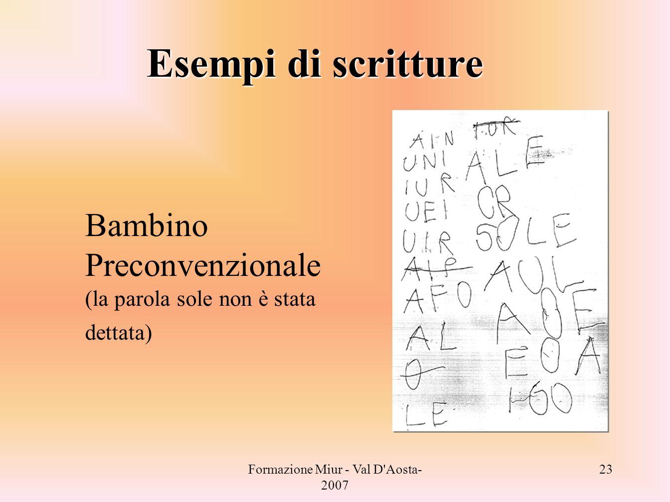 Formazione Miur - Val D'Aosta- 2007 23 Bambino Preconvenzionale (la parola sole non è stata dettata) Esempi di scritture