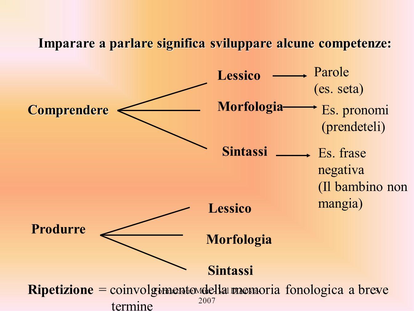 Formazione Miur - Val D'Aosta- 2007 3 Imparare a parlare significa sviluppare alcune competenze: Comprendere Lessico Parole (es. seta) Morfologia Es.