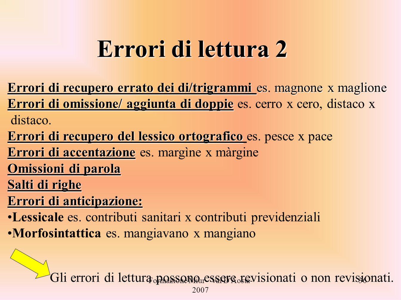 Formazione Miur - Val D'Aosta- 2007 36 Errori di lettura 2 Errori di recupero errato dei di/trigrammi esmagnone x maglione Errori di recupero errato d