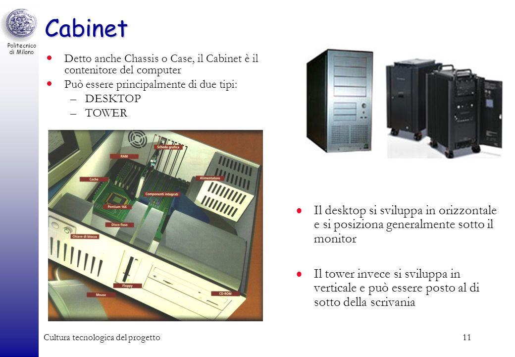 Politecnico di Milano Cultura tecnologica del progetto11 Cabinet Il desktop si sviluppa in orizzontale e si posiziona generalmente sotto il monitor Il