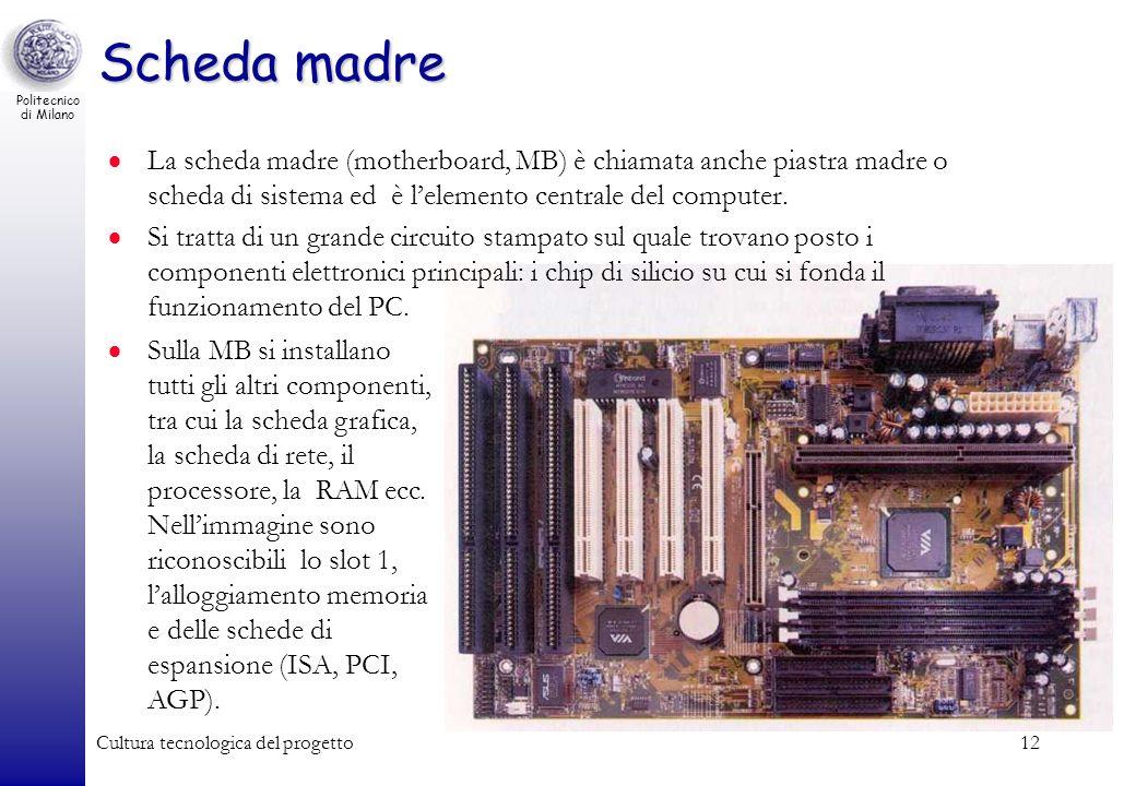 Politecnico di Milano Cultura tecnologica del progetto12 Scheda madre La scheda madre (motherboard, MB) è chiamata anche piastra madre o scheda di sis