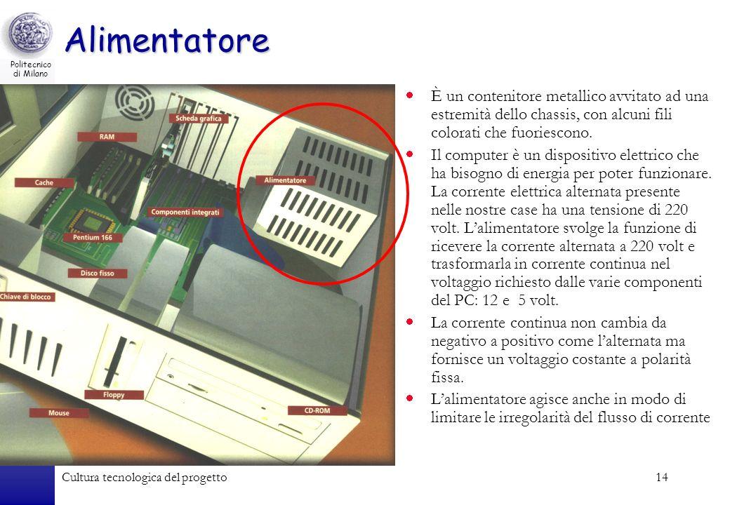 Politecnico di Milano Cultura tecnologica del progetto14 Alimentatore È un contenitore metallico avvitato ad una estremità dello chassis, con alcuni f