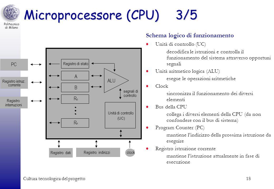 Politecnico di Milano Cultura tecnologica del progetto18 Registro di stato Unità di controllo (UC) ALU segnali di controllo A B RoRo RnRn PC Registro