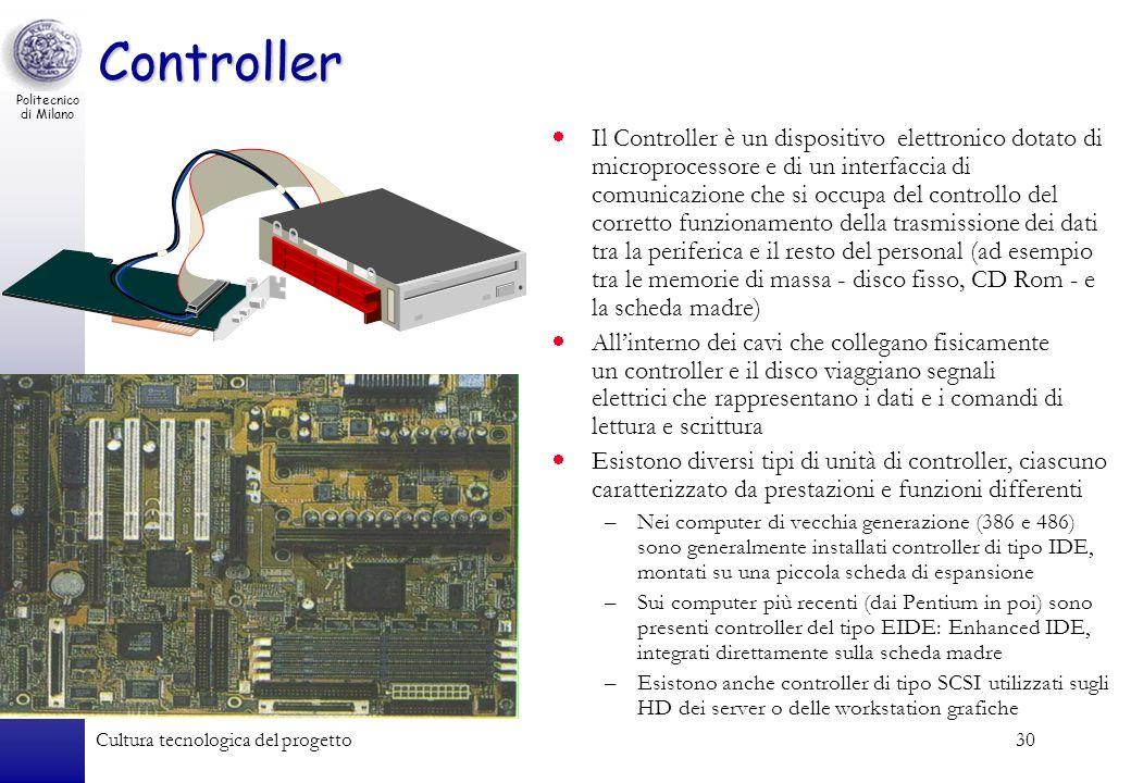 Politecnico di Milano Cultura tecnologica del progetto30 Controller Il Controller è un dispositivo elettronico dotato di microprocessore e di un inter