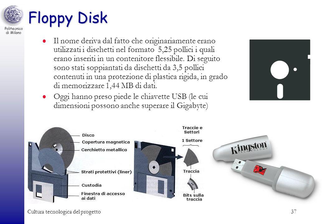 Politecnico di Milano Cultura tecnologica del progetto37 Floppy Disk Il nome deriva dal fatto che originariamente erano utilizzati i dischetti nel for