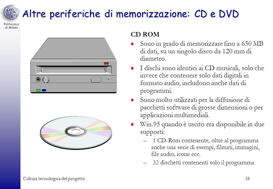 Politecnico di Milano Cultura tecnologica del progetto38 Altre periferiche di memorizzazione: CD e DVD CD ROM Sono in grado di memorizzare fino a 650