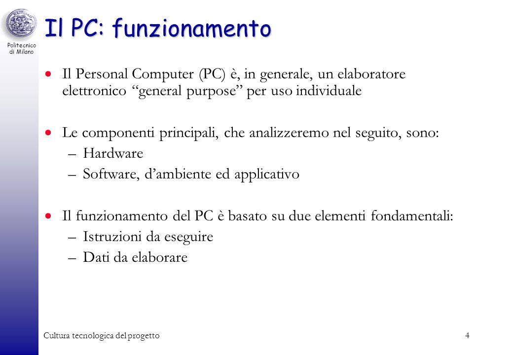 Politecnico di Milano Cultura tecnologica del progetto4 Il PC: funzionamento Il Personal Computer (PC) è, in generale, un elaboratore elettronico gene