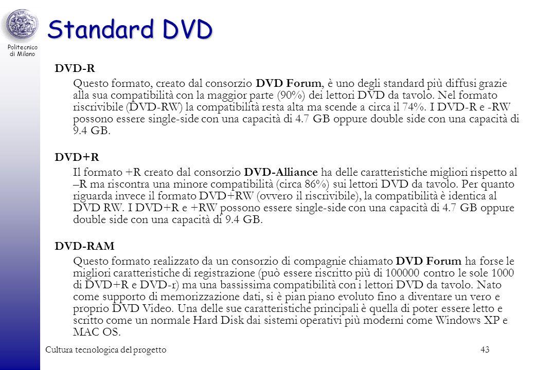 Politecnico di Milano Cultura tecnologica del progetto43 Standard DVD DVD-R Questo formato, creato dal consorzio DVD Forum, è uno degli standard più d
