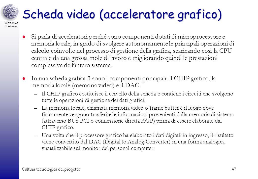 Politecnico di Milano Cultura tecnologica del progetto47 Scheda video (acceleratore grafico) Si parla di acceleratori perché sono componenti dotati di