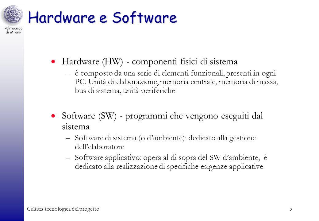 Politecnico di Milano Cultura tecnologica del progetto5 Hardware (HW) - componenti fisici di sistema –è composto da una serie di elementi funzionali,