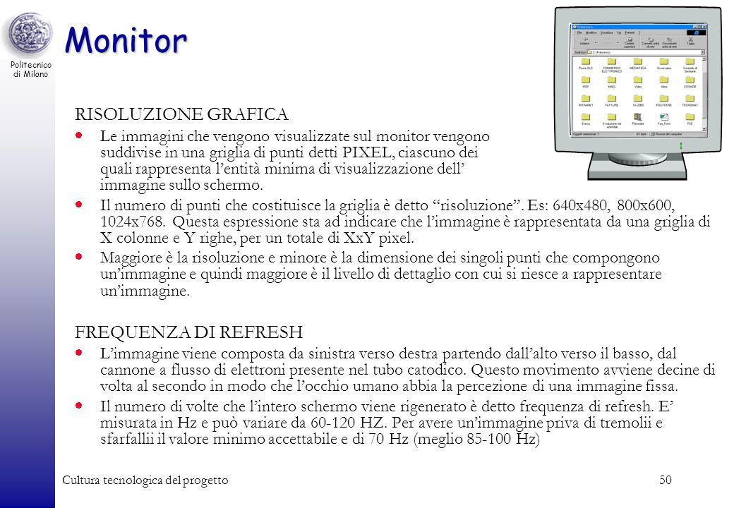 Politecnico di Milano Cultura tecnologica del progetto50 Monitor RISOLUZIONE GRAFICA Le immagini che vengono visualizzate sul monitor vengono suddivis