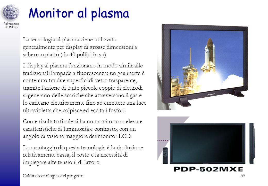 Politecnico di Milano Cultura tecnologica del progetto55 Monitor al plasma La tecnologia al plasma viene utilizzata generalmente per display di grosse