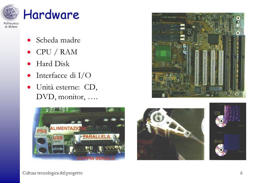 Politecnico di Milano Cultura tecnologica del progetto6 Hardware Scheda madre CPU / RAM Hard Disk Interfacce di I/O Unità esterne: CD, DVD, monitor, …