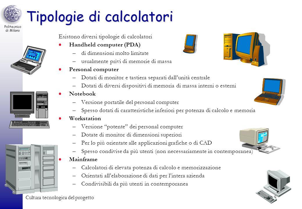 Politecnico di Milano Cultura tecnologica del progetto8 Tipologie di calcolatori Esistono diversi tipologie di calcolatori Handheld computer (PDA) –di