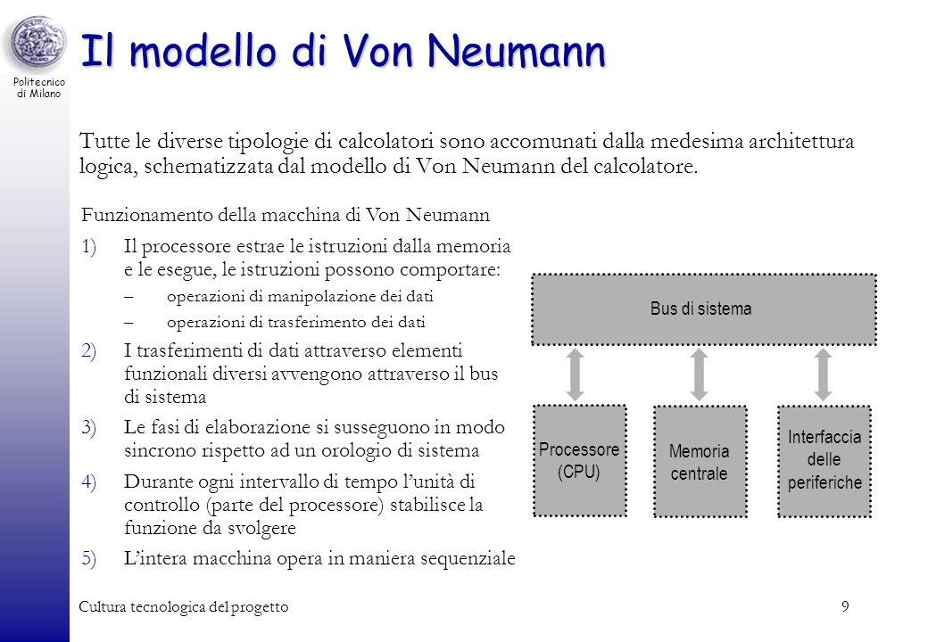 Politecnico di Milano Cultura tecnologica del progetto9 Il modello di Von Neumann Tutte le diverse tipologie di calcolatori sono accomunati dalla mede