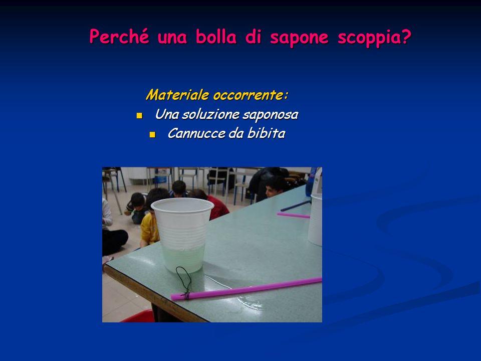Perché una bolla di sapone scoppia? Materiale occorrente: Una soluzione saponosa Una soluzione saponosa Cannucce da bibita Cannucce da bibita