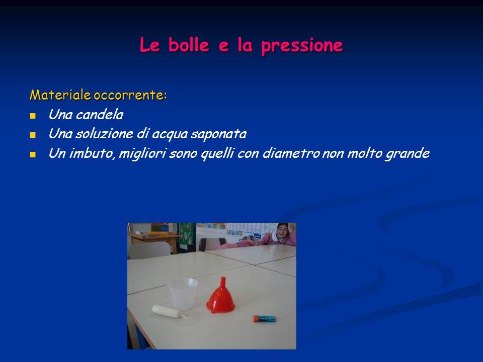 Le bolle e la pressione Materiale occorrente: Una candela Una soluzione di acqua saponata Un imbuto, migliori sono quelli con diametro non molto grand