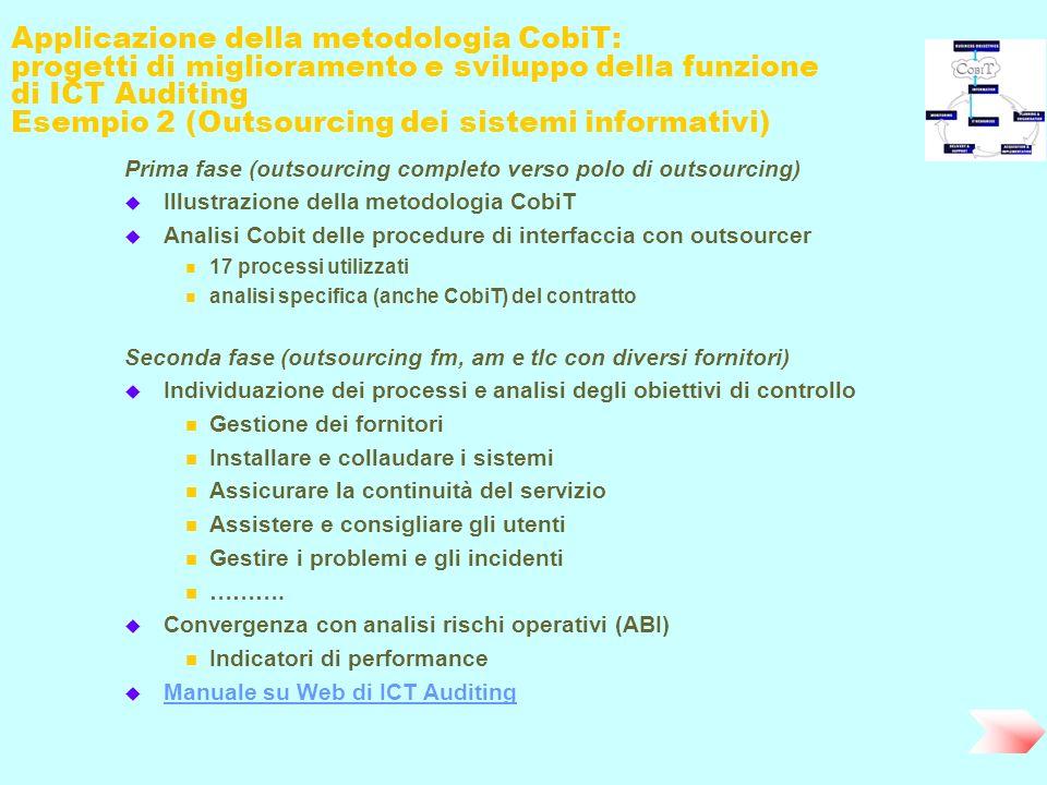 Applicazione della metodologia CobiT: progetti di miglioramento e sviluppo della funzione di ICT Auditing Esempio 2 (Outsourcing dei sistemi informati