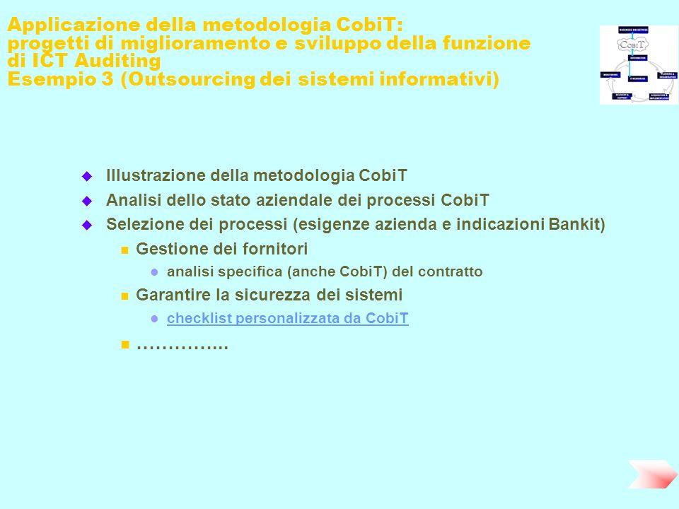 Applicazione della metodologia CobiT: progetti di miglioramento e sviluppo della funzione di ICT Auditing Esempio 3 (Outsourcing dei sistemi informati