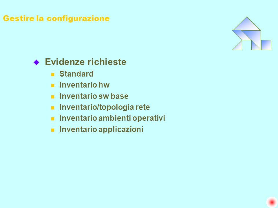 Gestire la configurazione u Evidenze richieste n Standard n Inventario hw n Inventario sw base n Inventario/topologia rete n Inventario ambienti opera