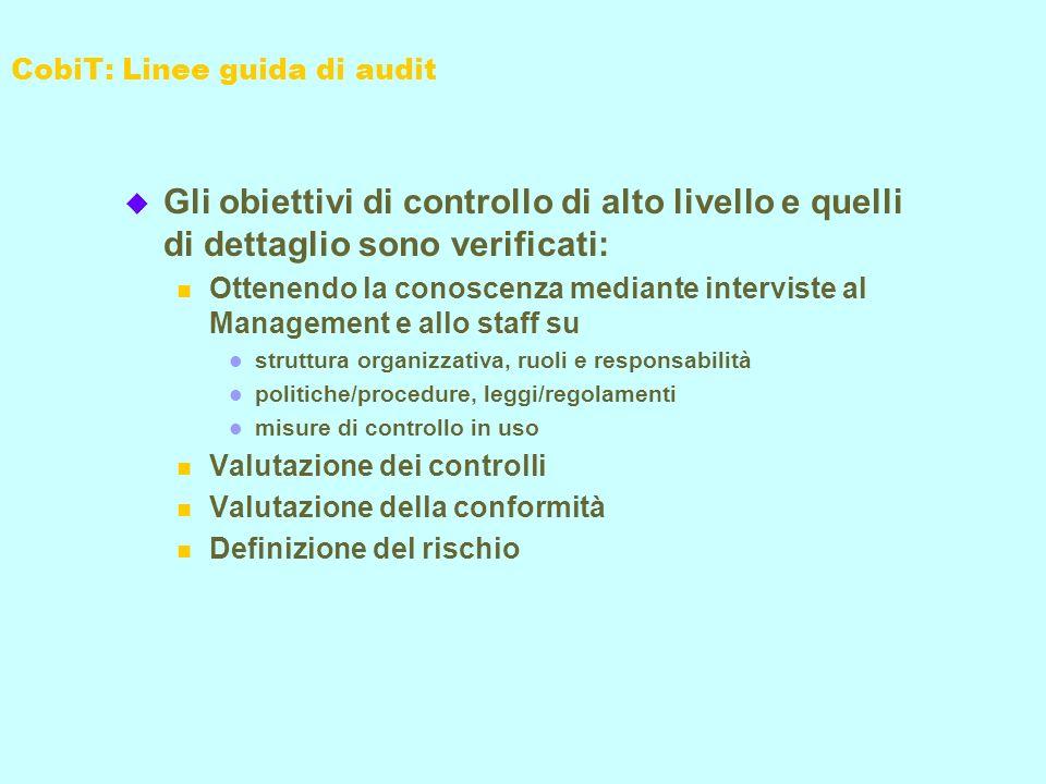 u Gli obiettivi di controllo di alto livello e quelli di dettaglio sono verificati: n Ottenendo la conoscenza mediante interviste al Management e allo