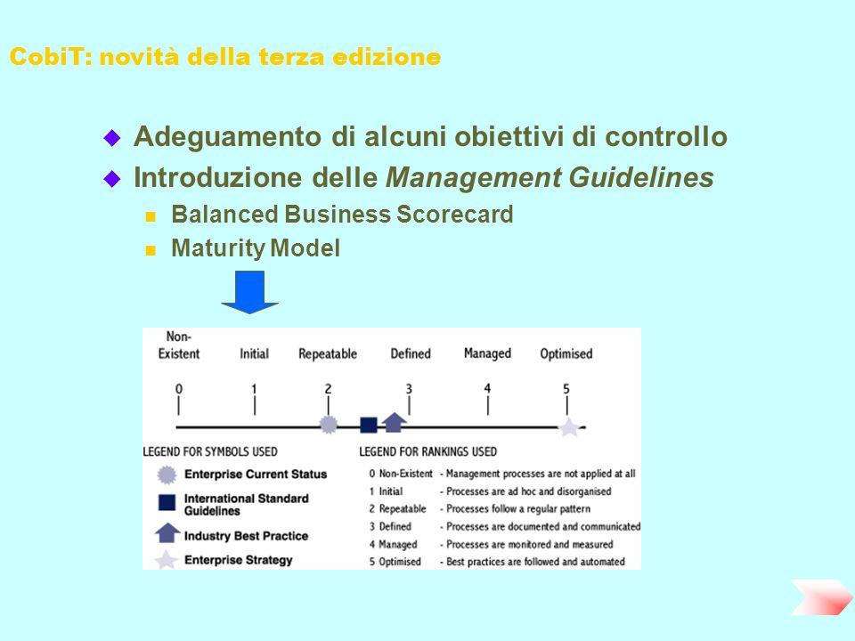 CobiT: novità della terza edizione u Adeguamento di alcuni obiettivi di controllo u Introduzione delle Management Guidelines n Balanced Business Score