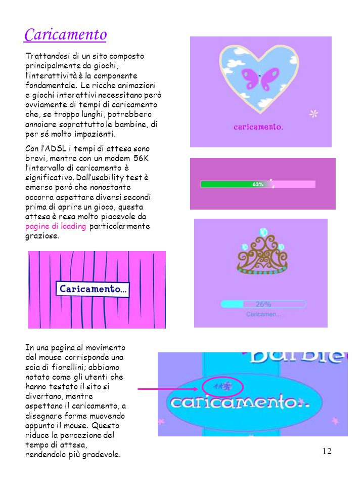 12 Caricamento Trattandosi di un sito composto principalmente da giochi, linterattività è la componente fondamentale.