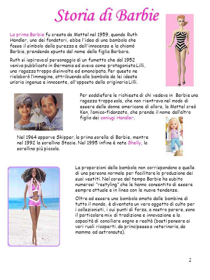 2 Le proporzioni della bambola non corrispondono a quelle di una persona normale per facilitare la produzione dei suoi vestiti.