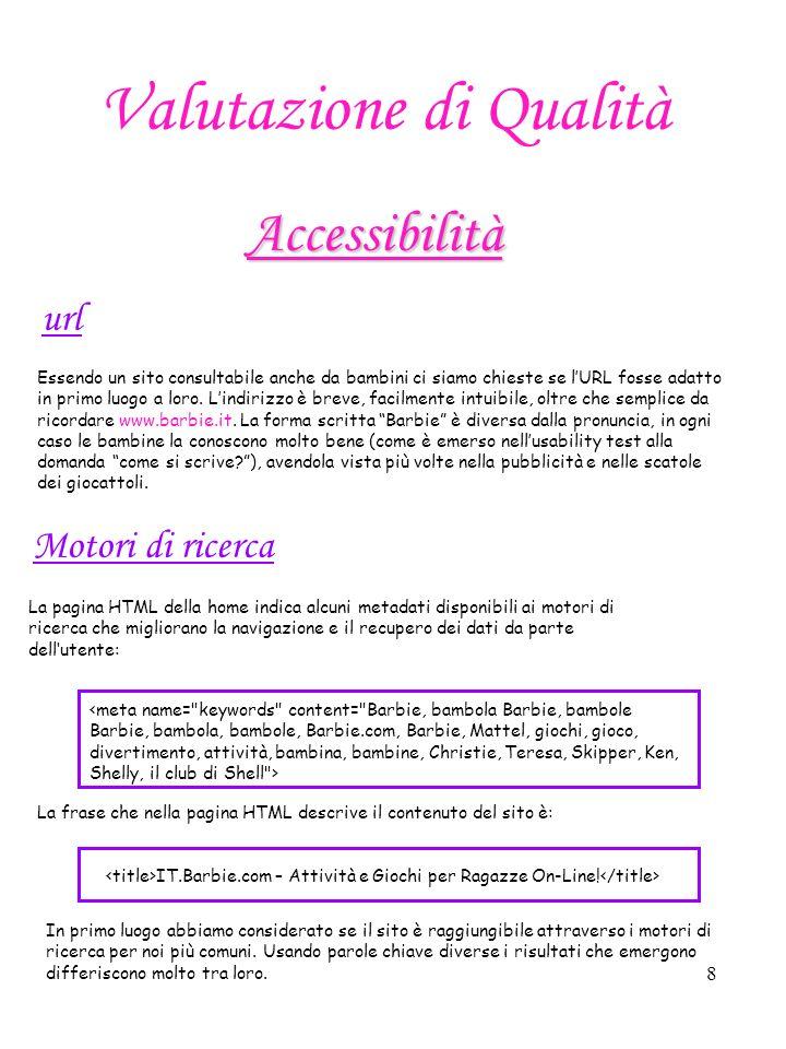 9 31132 9315 Oltre 50 11 Oltre 50 729 Oltre 50 25 Oltre 50 Barbie Shelly Mattel Giochi bambine Giochi ragazze Bambole Indicando come termine di ricerca Barbie il risultato dellaccessibilità è ottimo: in tutti i motori di ricerca considerati il sito barbie.it è tra i primi tre visualizzati.