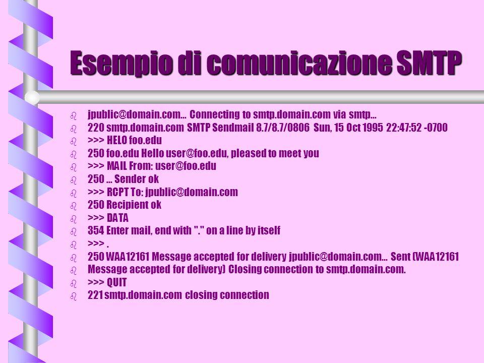 Esempio di comunicazione SMTP b b jpublic@domain.com... Connecting to smtp.domain.com via smtp... b b 220 smtp.domain.com SMTP Sendmail 8.7/8.7/0806 S