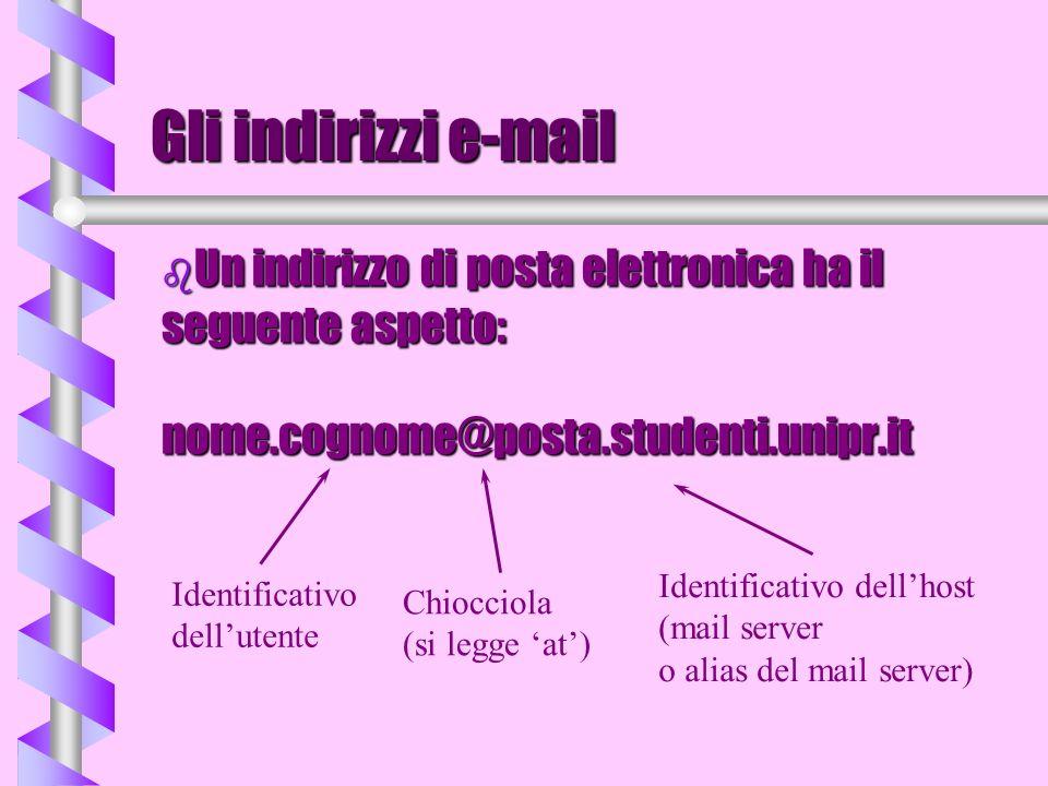 Gli indirizzi e-mail b Un indirizzo di posta elettronica ha il seguente aspetto: nome.cognome@posta.studenti.unipr.it Identificativo dellutente Chiocc
