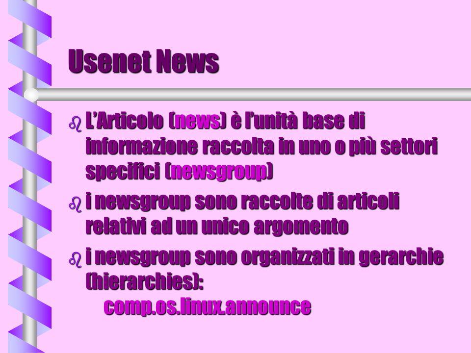Usenet News b LArticolo (news) è lunità base di informazione raccolta in uno o più settori specifici (newsgroup) b i newsgroup sono raccolte di artico
