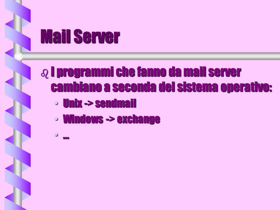 Mail Client b E un programma che risiede sulla macchina su cui ci colleghiamo per leggere la posta (può essere il nostro PC o una macchina Unix) b Non deve necessariamente risiedere su una macchina sempre connessa in rete, ma la connessione deve avvenire solo per leggere e scrivere i messaggi