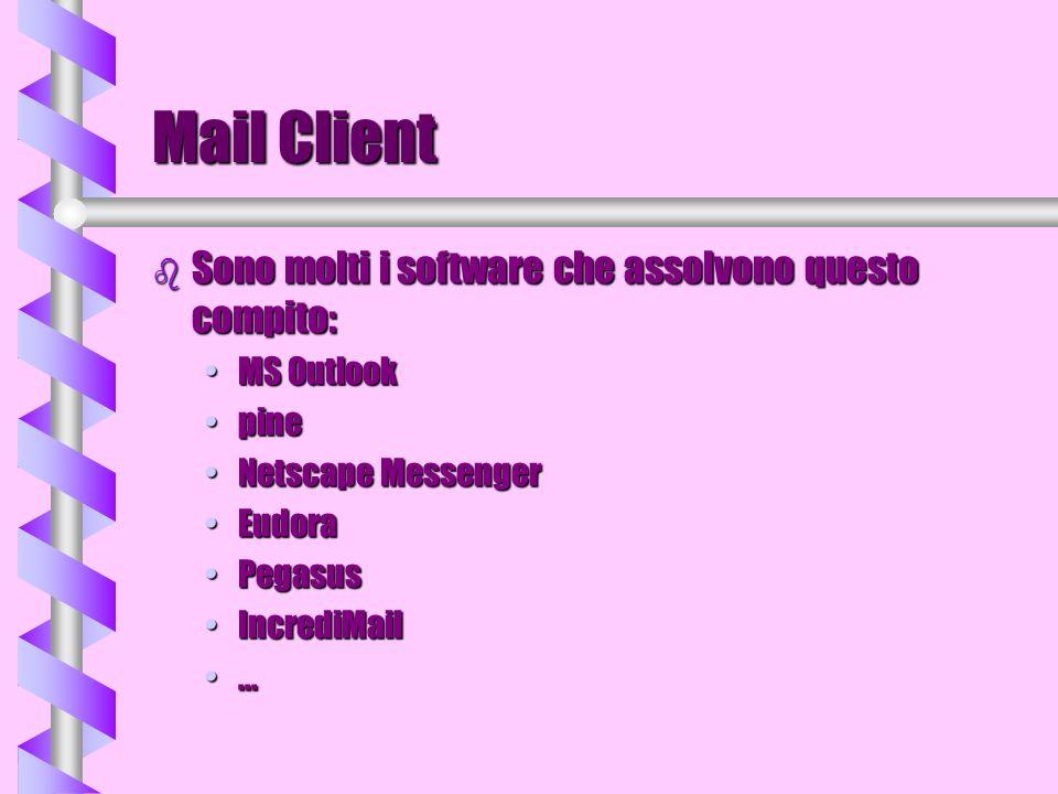 Mail Client b Sono molti i software che assolvono questo compito: MS OutlookMS Outlook pinepine Netscape MessengerNetscape Messenger EudoraEudora Pega