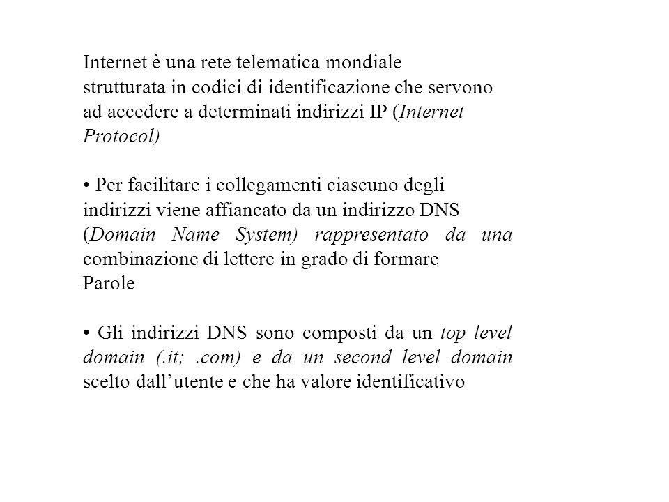 Internet è una rete telematica mondiale strutturata in codici di identificazione che servono ad accedere a determinati indirizzi IP (Internet Protocol