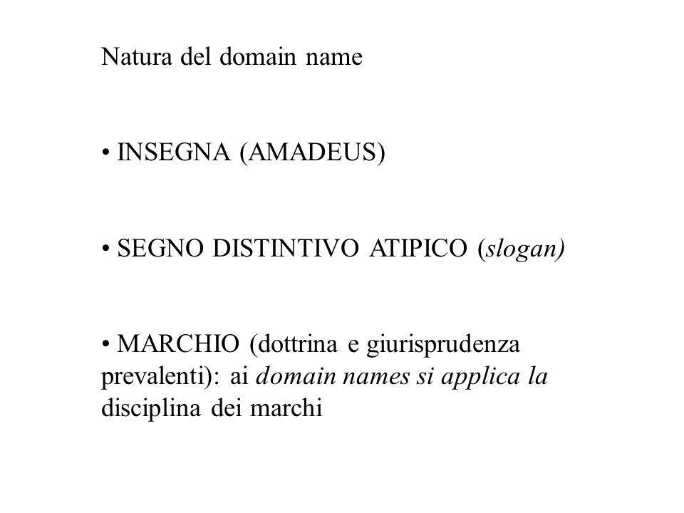 Natura del domain name INSEGNA (AMADEUS) SEGNO DISTINTIVO ATIPICO (slogan) MARCHIO (dottrina e giurisprudenza prevalenti): ai domain names si applica
