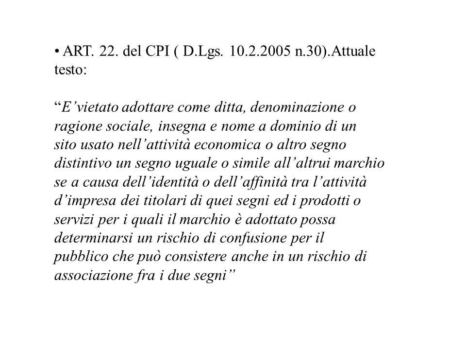 ART. 22. del CPI ( D.Lgs. 10.2.2005 n.30).Attuale testo: Evietato adottare come ditta, denominazione o ragione sociale, insegna e nome a dominio di un