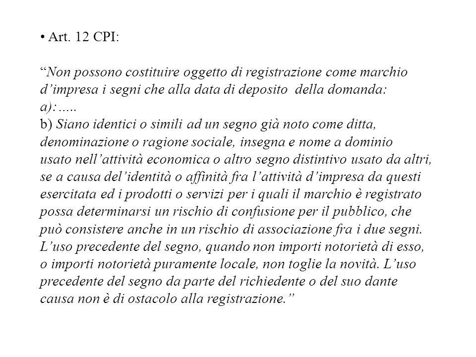 Art. 12 CPI: Non possono costituire oggetto di registrazione come marchio dimpresa i segni che alla data di deposito della domanda: a):….. b) Siano id