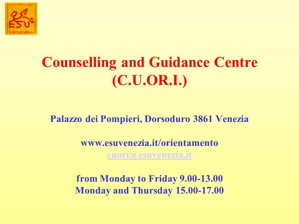 Counselling and Guidance Centre (C.U.OR.I.) Palazzo dei Pompieri, Dorsoduro 3861 Venezia www.esuvenezia.it/orientamento cuori@esuvenezia.it from Monda