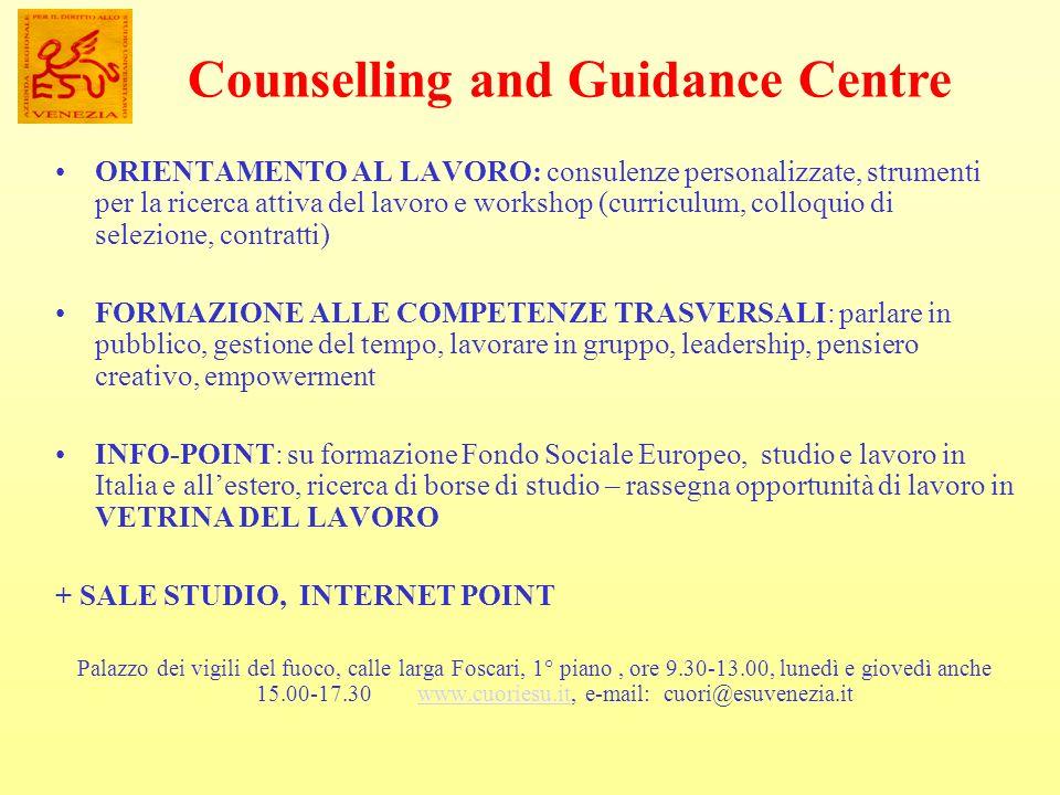 ORIENTAMENTO AL LAVORO: consulenze personalizzate, strumenti per la ricerca attiva del lavoro e workshop (curriculum, colloquio di selezione, contratt