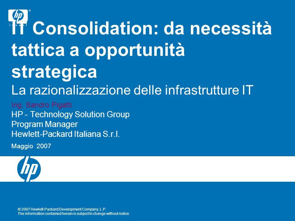 2 Agenda La razionalizzazione delle infrastrutture IT Contesto IT Consolidation & Virtualization Data Center tradizionali vs Data Center di Nuova Generazione