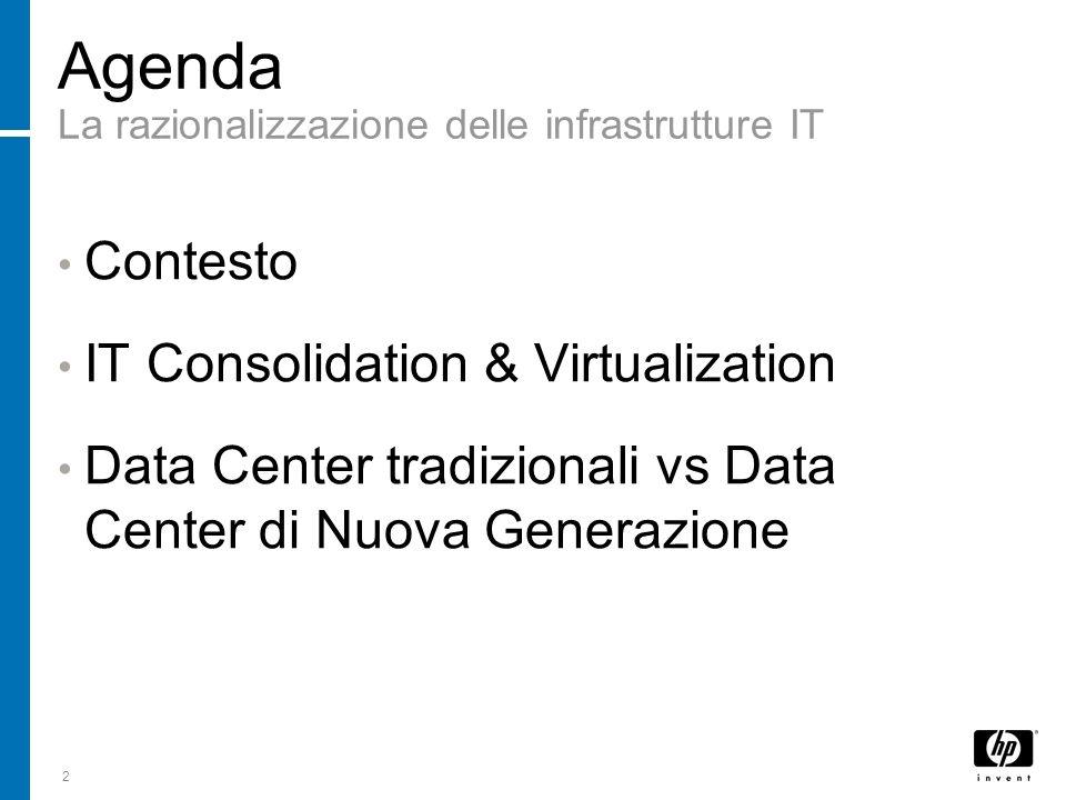 2 Agenda La razionalizzazione delle infrastrutture IT Contesto IT Consolidation & Virtualization Data Center tradizionali vs Data Center di Nuova Gene