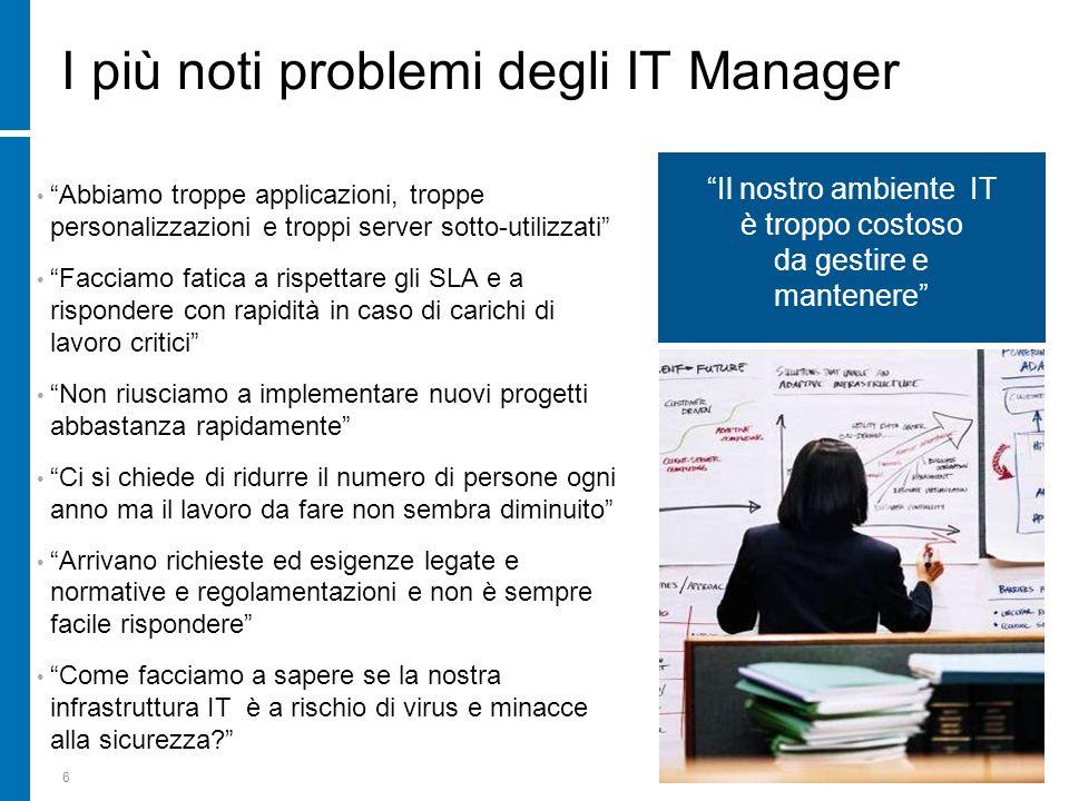 6 I più noti problemi degli IT Manager Abbiamo troppe applicazioni, troppe personalizzazioni e troppi server sotto-utilizzati Facciamo fatica a rispet