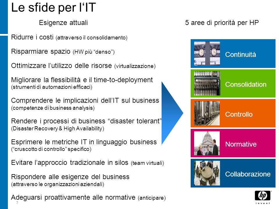 7 Le sfide per lIT Esigenze attuali 5 aree di priorità per HP Consolidation Continuità Normative Controllo Collaborazione Ridurre i costi (attraverso